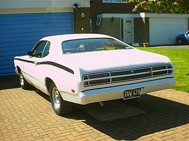 1971 slant six plymouth duster white